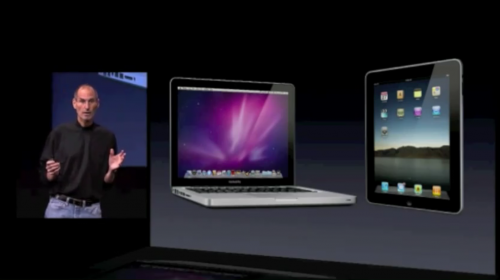 Steve Jobs: What if a Macbook and iPad hooked up?